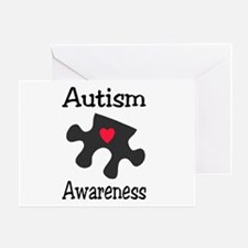 Autism Awareness (Black/Red Heart) Greeting Card