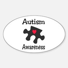 Autism Awareness (Black/Red Heart) Oval Decal