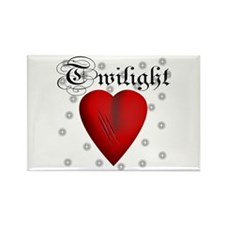 Sparkling Twilight Scratched Heart Rectangle Magne