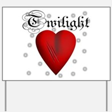 Sparkling Twilight Scratched Heart Yard Sign