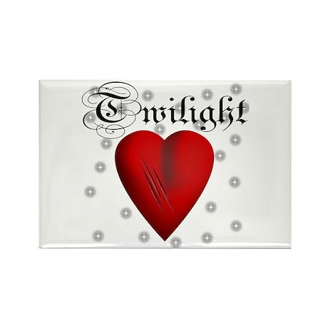 Sparkling Twilight Scratched Heart Rectangle Magne