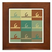 Swimming Pop Art Framed Tile