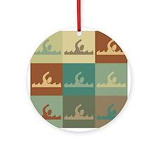 Swimming Pop Art Ornament (Round)