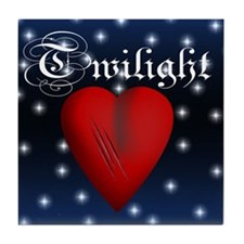 Sparkling Twilight Scratched Heart Tile Coaster