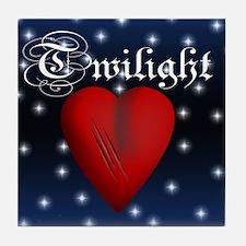 Sparkling Twilight Scratched Heart Tile Coaster