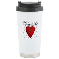 Sparkling Twilight Scratched Heart Travel Mug