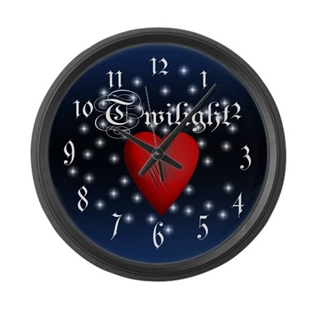 Sparkling Twilight Scratched Heart Large Wall Cloc