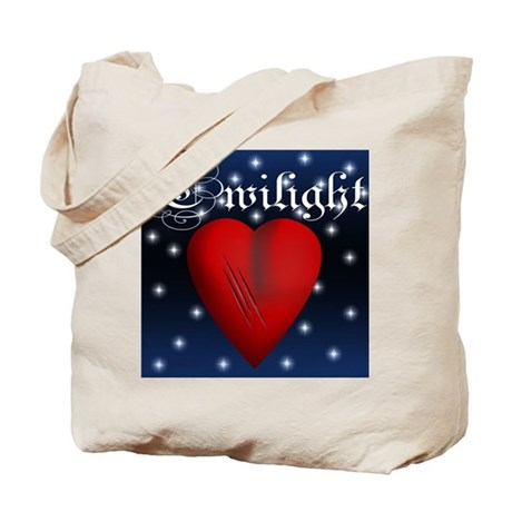 Sparkling Twilight Scratched Heart Tote Bag