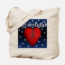 Sparkling Twilight Scratched Heart Tote Bag
