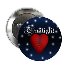 """Sparkling Twilight Scratched Heart 2.25"""" Button (1"""
