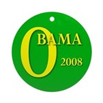 Green Obama for President Ornament (Round)