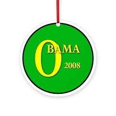 Green Obama for President Ornament (Round)