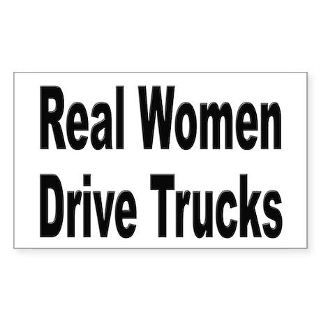 Real Women Drive Trucks Rectangle Sticker