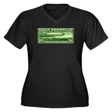 Women's +size US stamp 65c Graf Zeppelin T-shirt