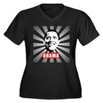 Obama Poster Women's Plus Size V-Neck Dark T-Shirt