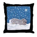 Rabbit in Winter snow Throw Pillow