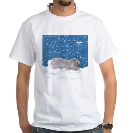 Rabbit in Winter snow White T-Shirt