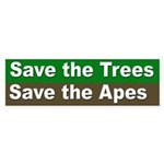 Save Trees, Save Apes Bumper Sticker