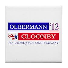 Olbermann Clooney 2012 Tile Coaster