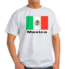 Mexico Mexican Flag (Front) Ash Grey T-Shirt