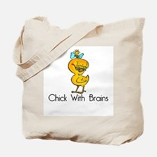 Chick with Brains Tote Bag