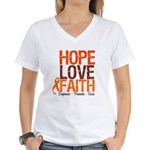 LEUKEMIA Hope Love Faith Women's V-Neck T-Shirt