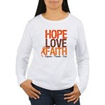 LEUKEMIA Hope Love Faith Women's Long Sleeve T-Shi