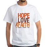 LEUKEMIA Hope Love Faith White T-Shirt