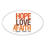 LEUKEMIA Hope Love Faith Oval Sticker (10 pk)