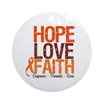 LEUKEMIA Hope Love Faith Ornament (Round)