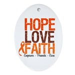 LEUKEMIA Hope Love Faith Oval Ornament