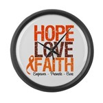 LEUKEMIA Hope Love Faith Large Wall Clock