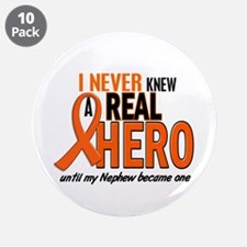 """Never Knew A Real Hero 2 ORANGE 3.5"""" Button (10 pa"""