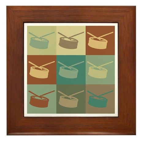 Snare Drum Pop Art Framed Tile