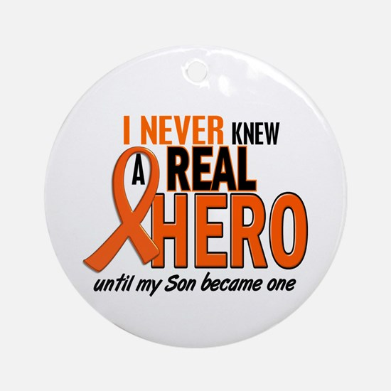 Never Knew A Real Hero 2 ORANGE Ornament (Round)