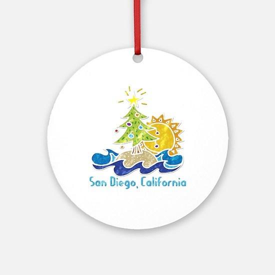 San Diego Holiday Ornament (Round)