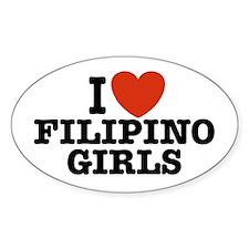 I Love Filipino Girls Oval Decal