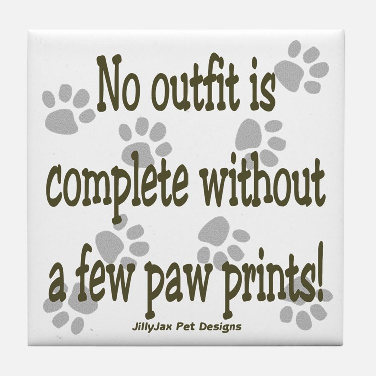 Outfit Paw Prints Tile Coaster