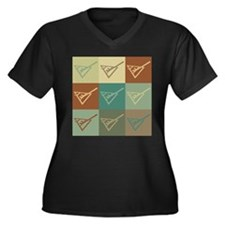 Shuffleboard Pop Art Women's Plus Size V-Neck Dark