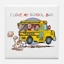 I Love My Schoolbus Tile Coaster