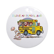I Love My Schoolbus Ornament (Round)