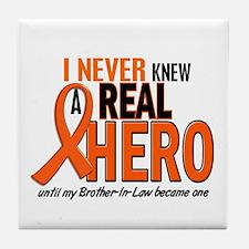Never Knew A Real Hero 2 ORANGE Tile Coaster