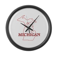 Unique State of michigan Large Wall Clock