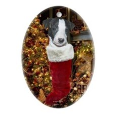 Whippet Puppy Christmas Oval Ornament