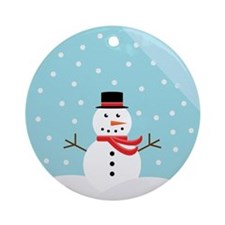 Snowman in a Snow Globe Ornament (Round)