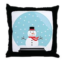 Snowman in a Snow Globe Throw Pillow