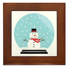 Snowman in a Snow Globe Framed Tile