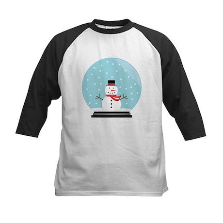 Snowman in a Snow Globe Kids Baseball Jersey