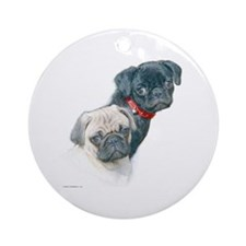 Two Pugs Ornament (Round)