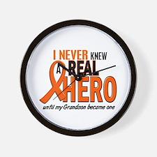 Never Knew A Hero 2 ORANGE (Grandson) Wall Clock